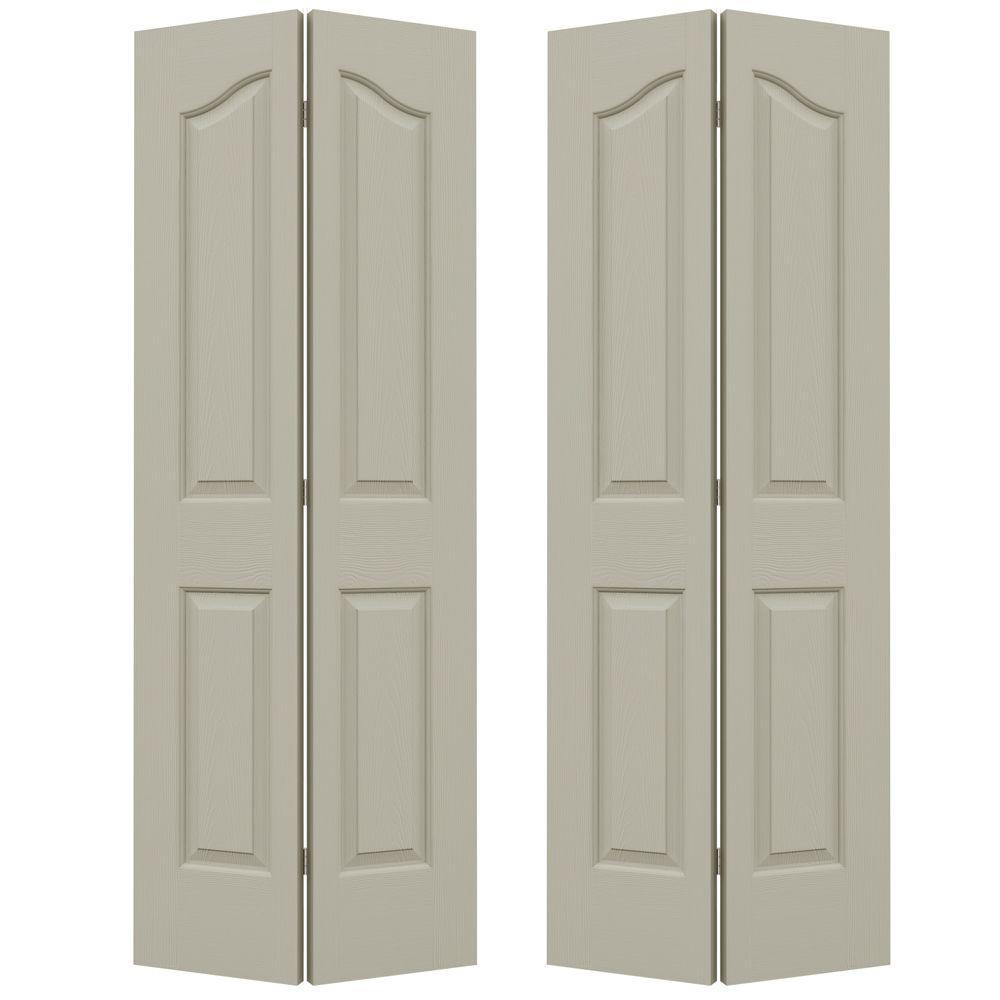 JELD-WEN 72 in. x 80 in. Provincial Desert Sand Painted Textured Molded Composite MDF Closet Bi-fold Door
