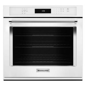 KitchenAid 30 In. Single Electric Wall Oven Self Cleaning With Convection  In White KOSE500EWH   The Home Depot