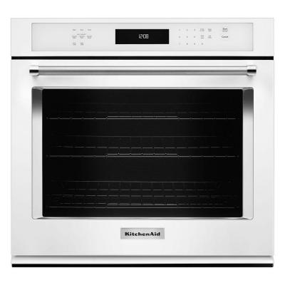30 in. Single Electric Wall Oven Self-Cleaning with Convection in White