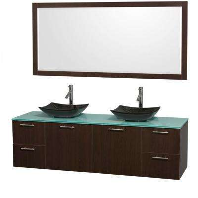 Amare 72 in. Double Vanity in Espresso with Glass Vanity Top in Green, Granite Sinks and 70 in. Mirror