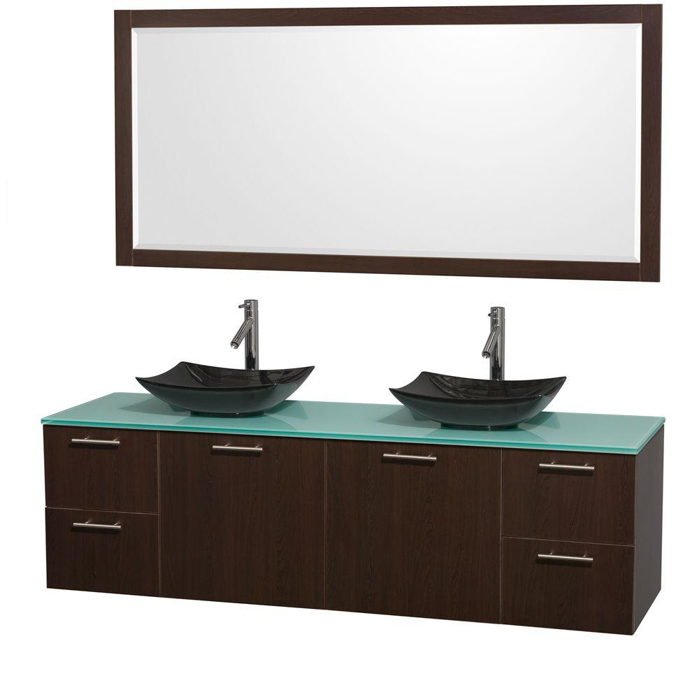 Amare 72 in. Double Vanity in Espresso with Glass Vanity Top