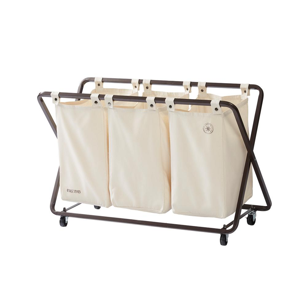 Seville Classics 3 Bag Laundry Sorter With Folding Table