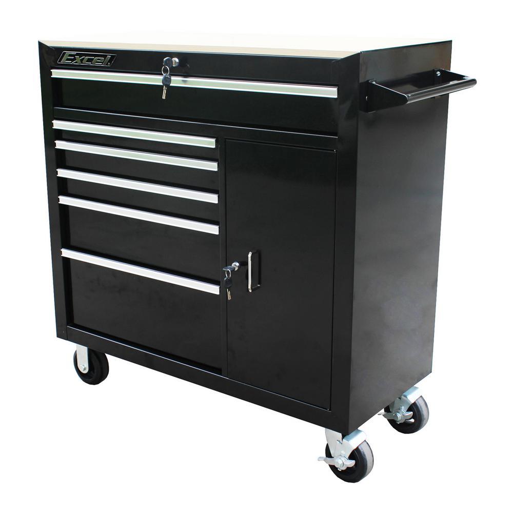 41 in. W x 18 in. D x 41.4 in. H Steel Roller Cabinet, Black