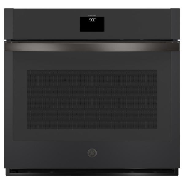 GE 30 in. 5.0 cu. ft. Smart Single Electric Wall Oven with Convection Self-Cleaning in Black Slate, Fingerprint Resistant