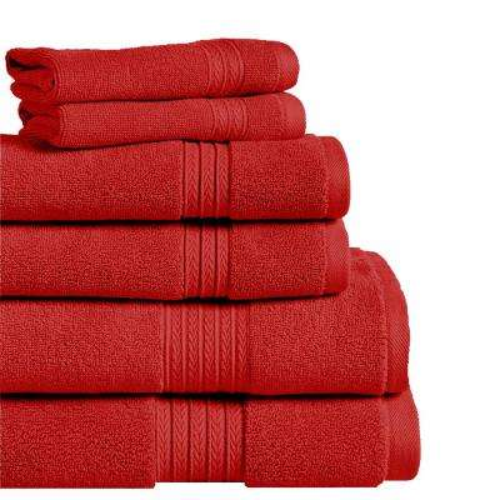 Summit 6-Piece  Red 100% Cotton Bath Towel Set
