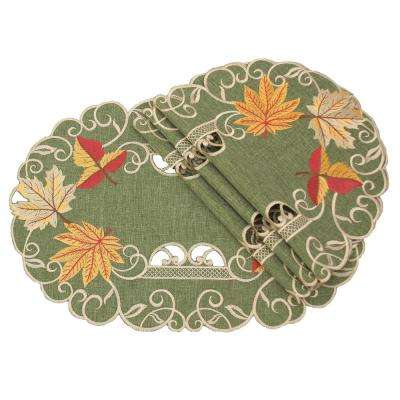 0.1 in. H x 13 in. W x 19 in. D Delicate Leaves Embroidered Cutwork Fall Placemats (Set of 4)