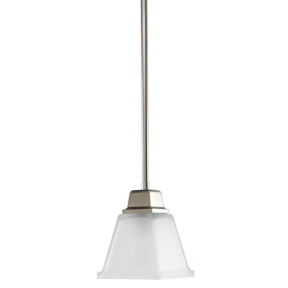 Wonderful Progress Lighting North Park Collection 1 Light Brushed Nickel Mini Pendant  With Etched Glass