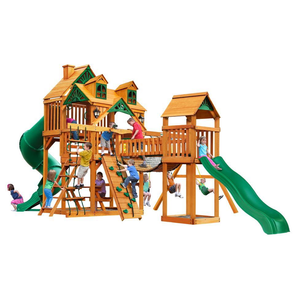 Treasure Trove I Wooden Swing Set with Malibu Wood Roof and 2 Slides