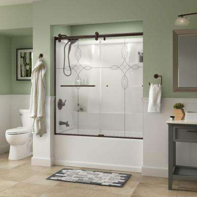 Simplicity 60 in. x 58-3/4 in. Semi-Frameless Contemporary Sliding Bathtub Door in Bronze with Tranquility Glass