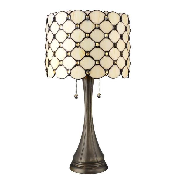 Tiffany Jeweled 21 in. Bronze Table Lamp