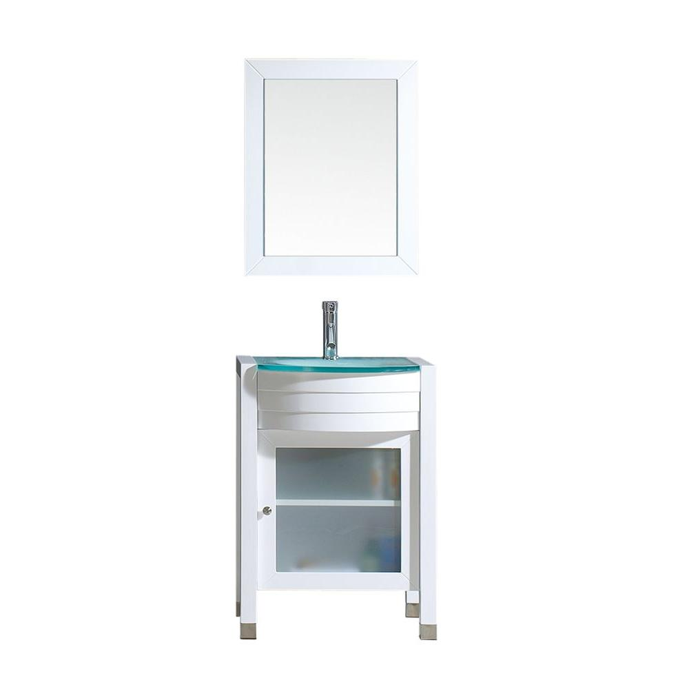 Virtu USA Ava 24 in. W Bath Vanity in White with Glass Vanity Top in Aqua Tempered Glass with Round Basin and Mirror and Faucet