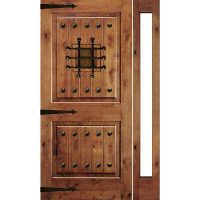 50 in. x 96 in. Mediterranean Knotty Alder Sq Unfinished Left-Hand Inswing Prehung Front Door with Right Full Sidelite