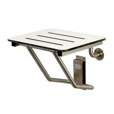 Adascape 18 in. x 16 in. Wall-Mounted Fold Down Shower Seat in Brushed Stainless Steel - ADA Compliant