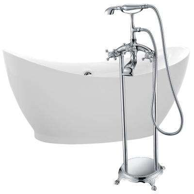 Reginald 68 in. Acrylic Flatbottom Non-Whirlpool Bathtub in White with Tugela Faucet in Polished Chrome