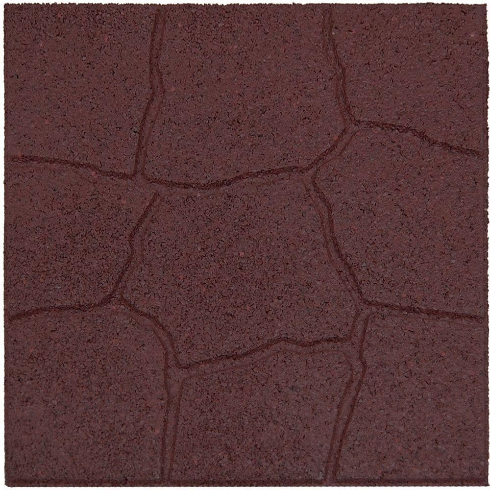 Envirotile 18 in. x 18 in. Flagstone Terra Cotta Rubber Paver-DISCONTINUED