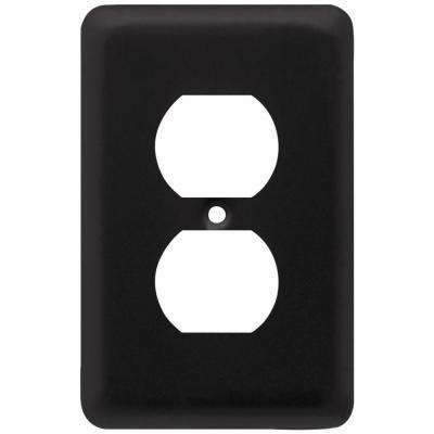 Stamped Round Decorative Single Duplex Outlet Cover, Flat Black