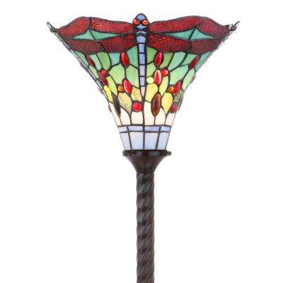 Dragonfly Tiffany-Style 71 in. Bronze/Red Torchiere Floor Lamp