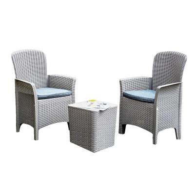 Susanna Gray 3-Piece Plastic Outdoor Bistro Set with Gray Seat Cushion