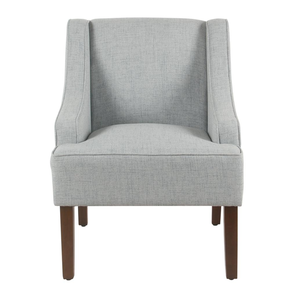 Homepop Linen Look Light Blue Classic Swoop Arm Accent Chair