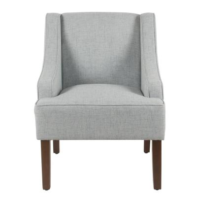 Linen-look Light Blue Classic Swoop Arm Accent Chair