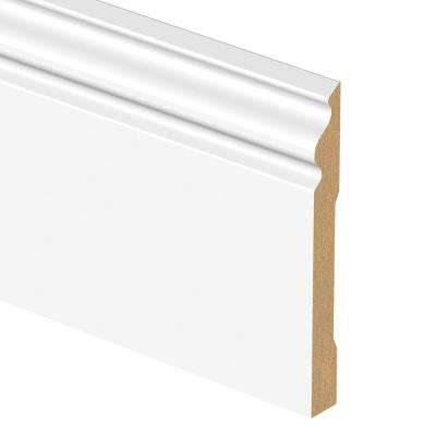 White 9/16 in. Thick x 6-1/4 in. Wide x 94 in. Length Laminate Decorative Wall Base Molding
