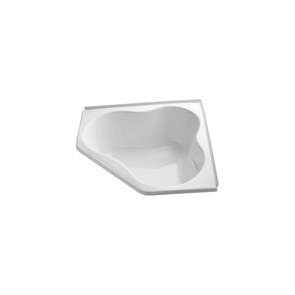 Kohler proflex 4 5 ft front drain corner bathtub in white for 4 foot bath tub