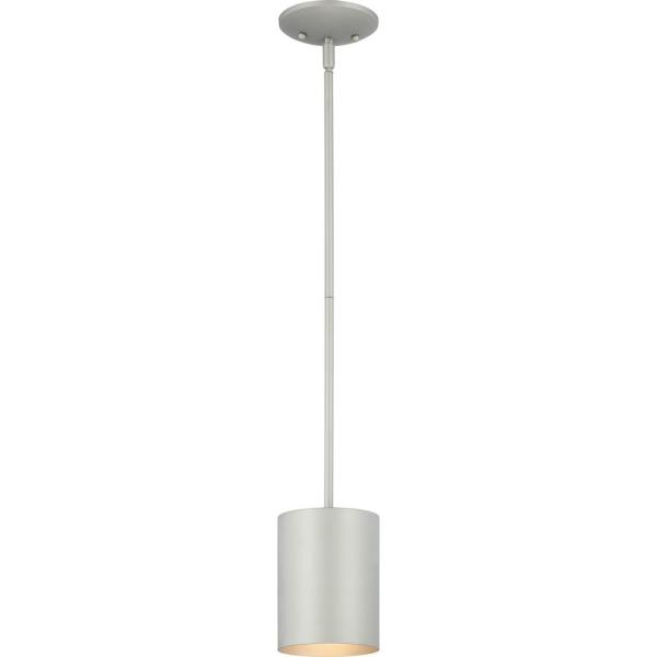Volume Lighting Mini 1 Light White Aluminum Integrated Led Indoor Outdoor Cylinder Downrod Pendant V9205 6 The Home Depot