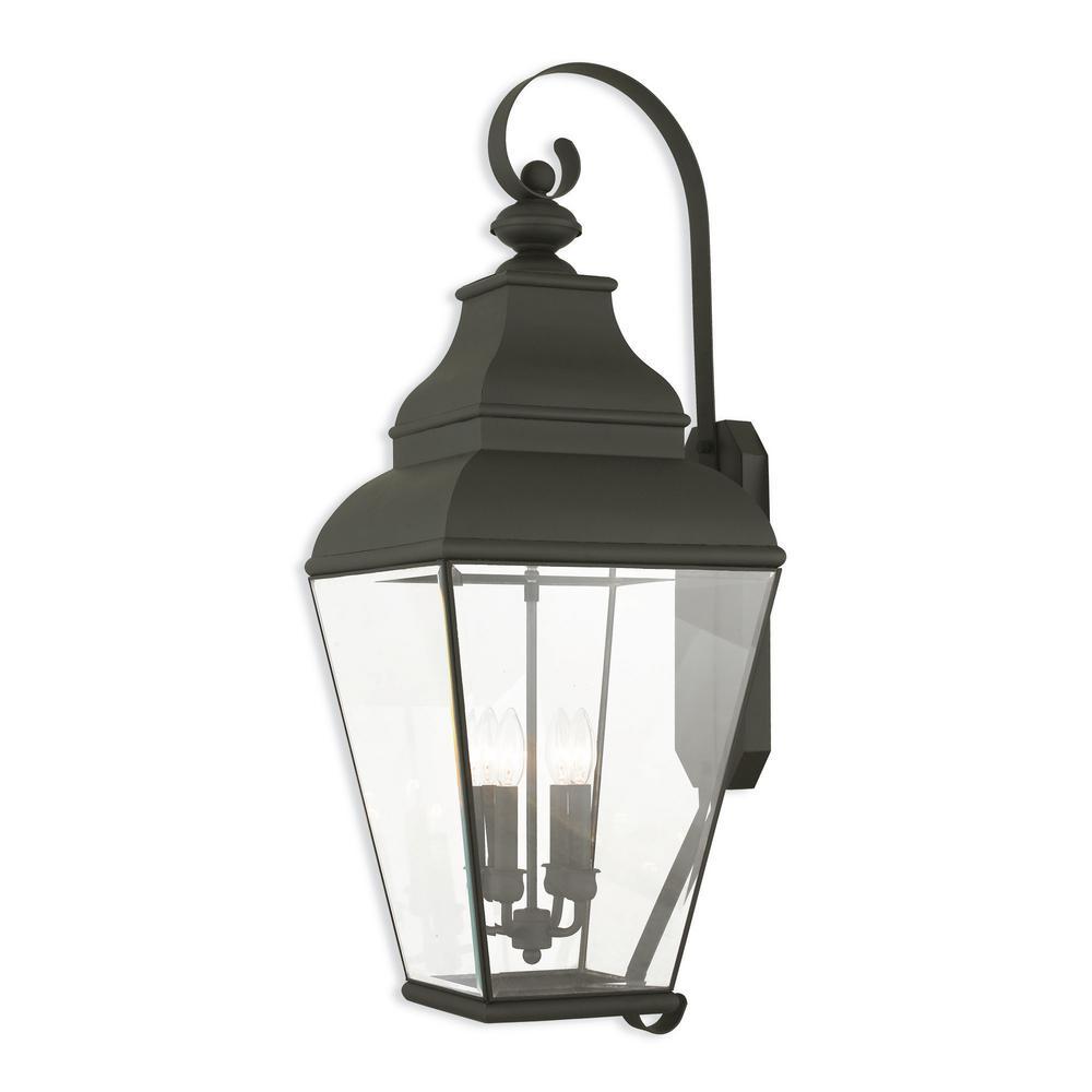 Livex Lighting Exeter 4 Light Black Outdoor Wall Lantern Sconce