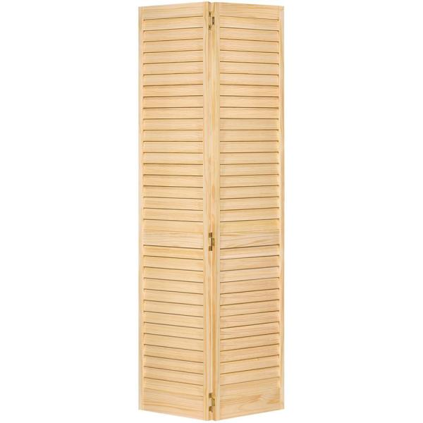 30 in. x 96 in. Plantation Louver Unfinished Solid Core Wood Bi-Fold Door