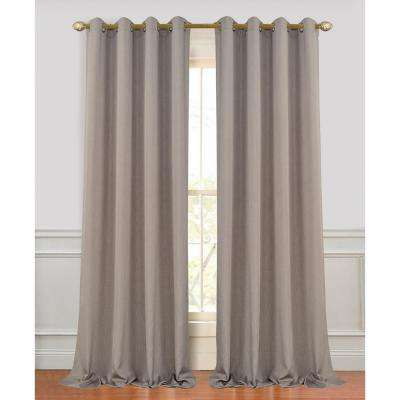 Madison 96 in. L Polyester Extra Long and Wide Linen Look Window Curtain Panel Pair in Coffee (2-Pack)