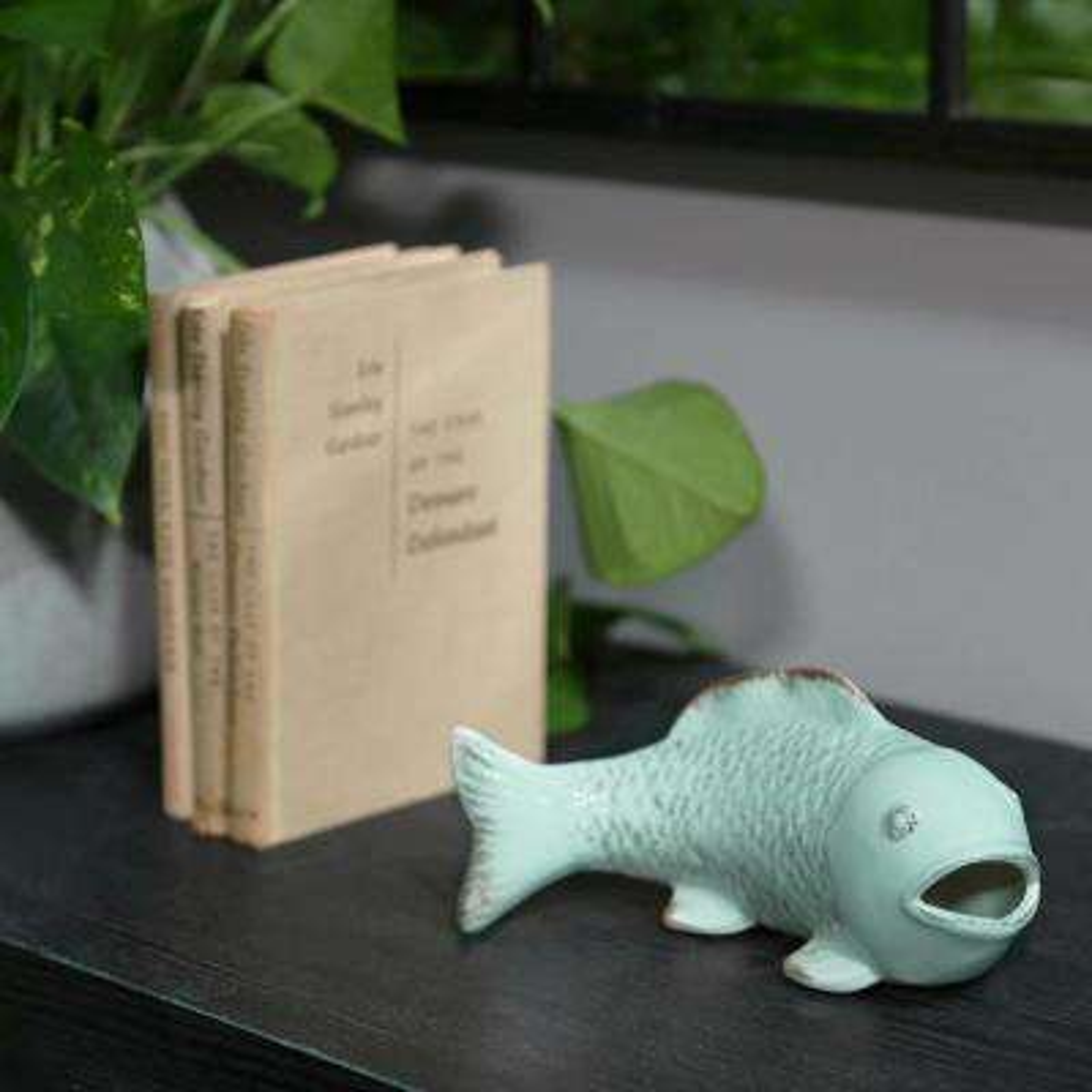 4 in. H Fish Decorative Figurine in Blue Gloss Distressed Finish