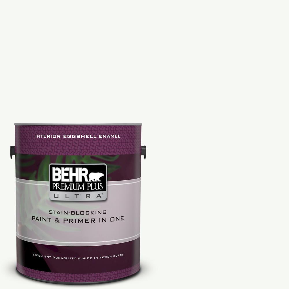 Behr Premium Plus Ultra 1 Gal Ppu18 06 Pure White Eggshell Enamel