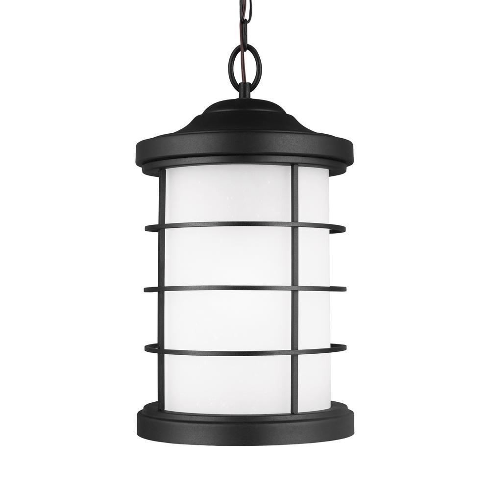 Sauganash Black 1-Light Outdoor Hanging Pendant with LED Bulb