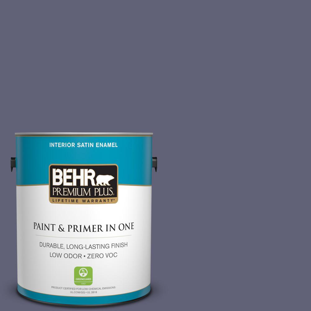 BEHR Premium Plus 1-gal. #620F-6 Purple Orchid Zero VOC Satin Enamel Interior Paint