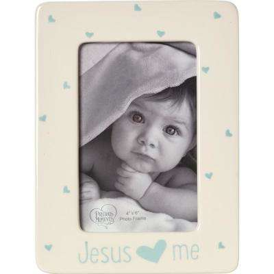 Jesus Love Me 4 in. x 6 in. Cream and Blue Gloss Ceramic Boy with Hearts Picture Frame