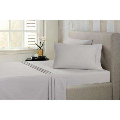 Solid Brushed 100% Cotton Micro Chip Twin Sheet Set