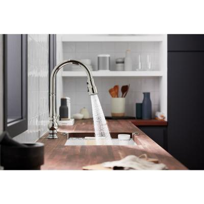 Artifacts Single-Handle Kitchen Sink Faucet with Konnect and Voice-Activation in Vibrant Polished Nickel