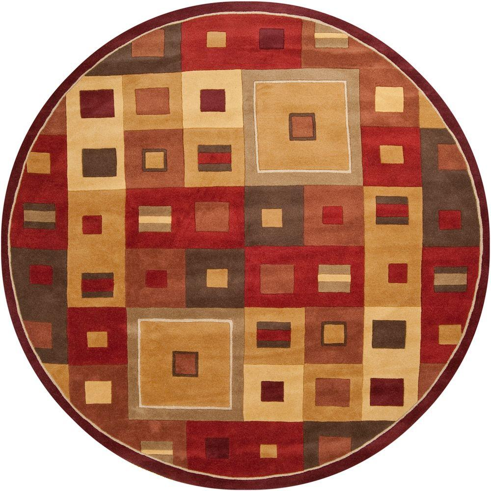 Michael Burgundy 8 ft. Round Area Rug