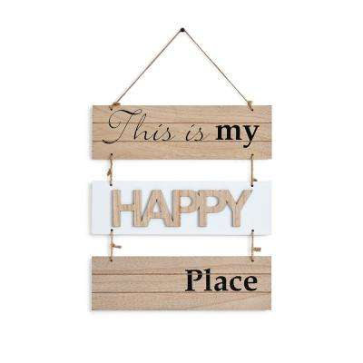 Inspirational This Is My Happy Place Sectioned Wooden Wall Plaque Sign