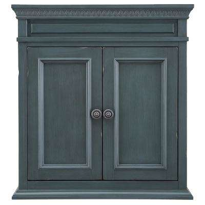 Cailla 26 in. W x 28 in. H Wall Cabinet in Distressed Blue Fog