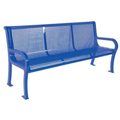 6 ft. Perforated Blue Portable Commercial Park Lexington Bench with Back Surface Mount