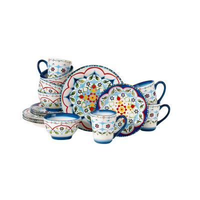 Tuscany 16-Piece Patterned Multi Stoneware Dinnerware Set (Service for 4)