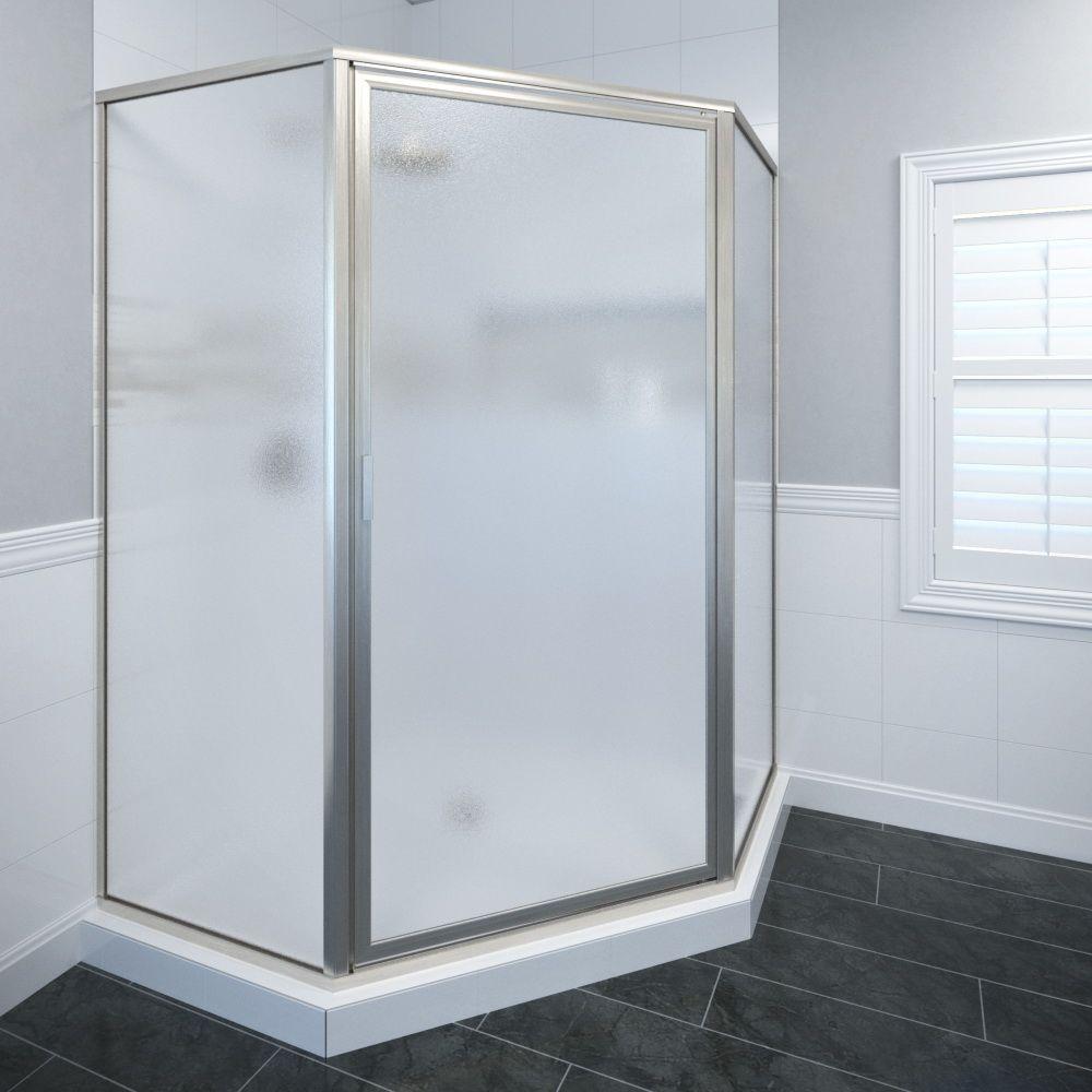 Basco Deluxe 24-3/8 in. x 68-5/8 in. Framed Neo-Angle Hinged Shower Door in Brushed Nickel