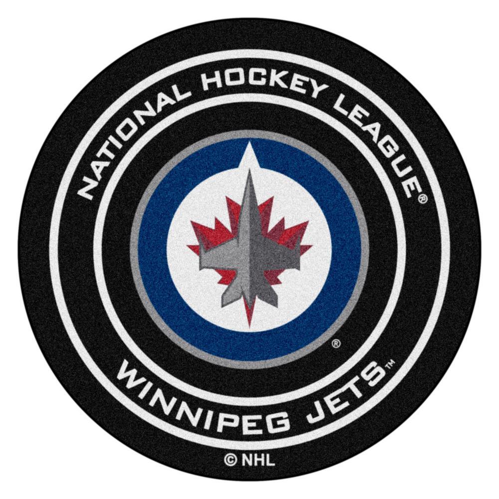 Winnipeg Jets Black 27 in. Round Hockey Puck Mat