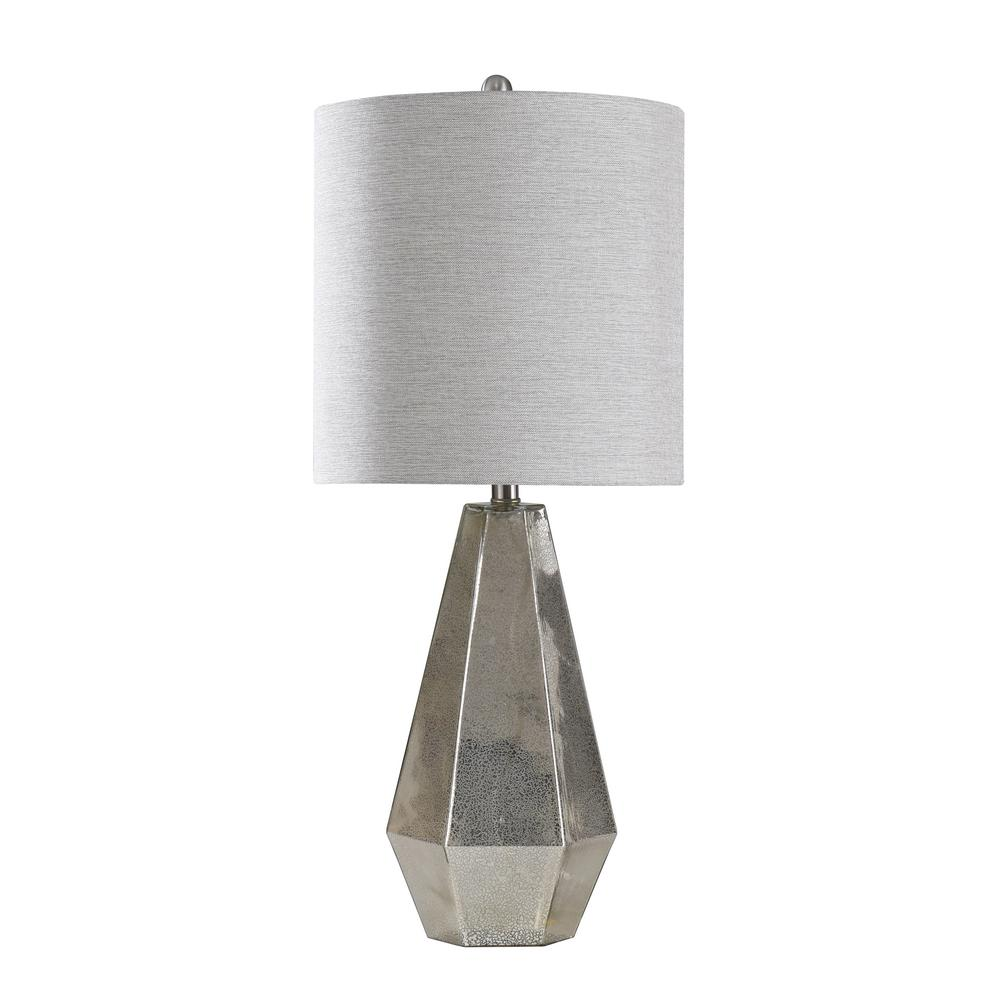 Stylecraft 30 75 In Mercury Glass Table Lamp With Off White