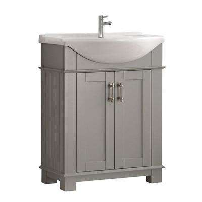 Hudson 30 in. W Traditional Bathroom Vanity in Gray with Ceramic Vanity Top in White with White Basin