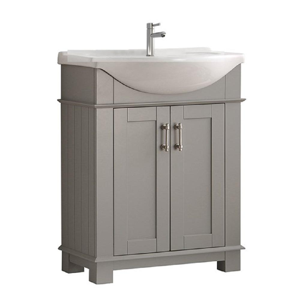 Hudson 30 in. W Traditional Bathroom Vanity in Gray with Ceramic