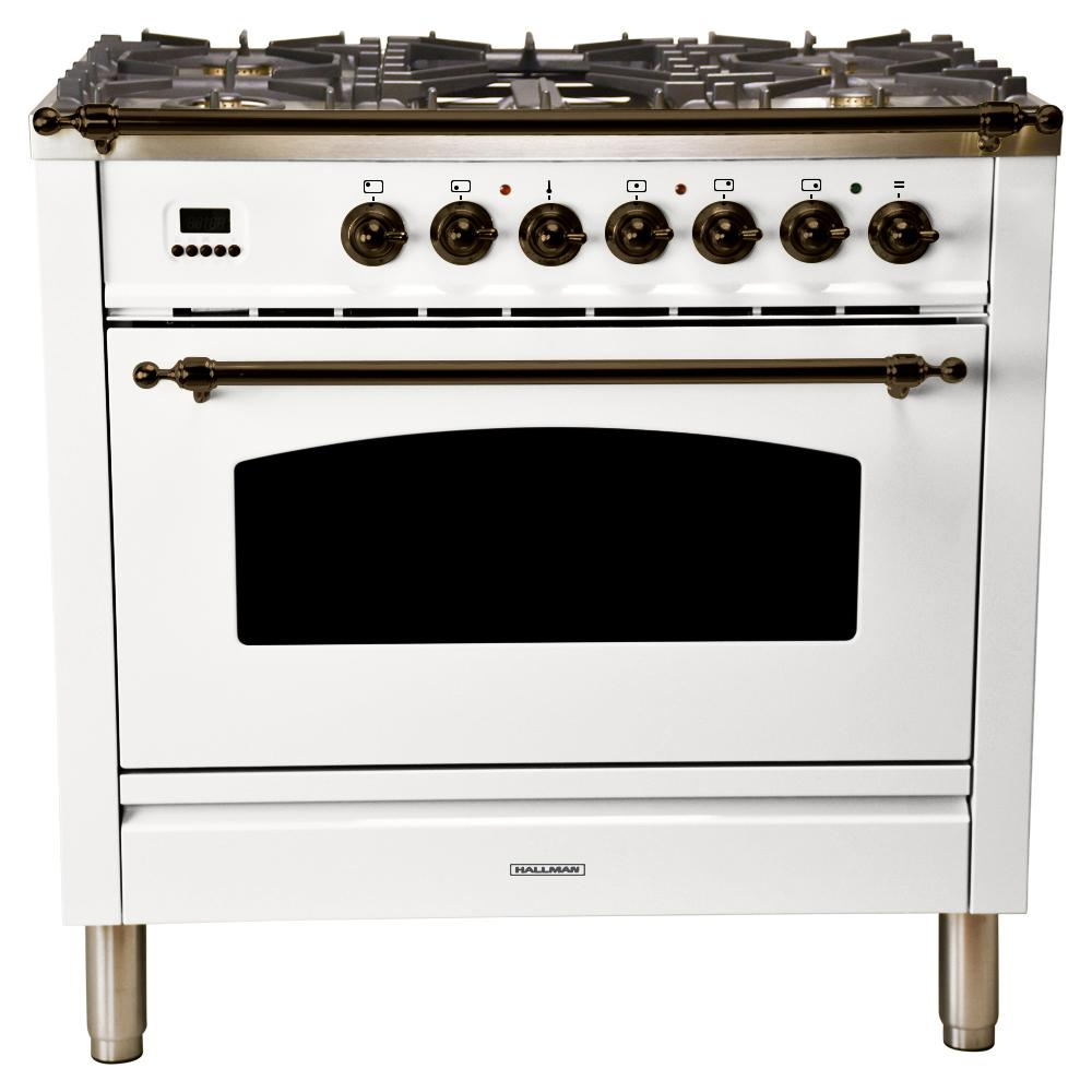 Hallman 36 in. 3.55 cu. ft. Single Oven Dual Fuel Italian Range True Convection, 5 Burners, LP Gas, Bronze Trim in White
