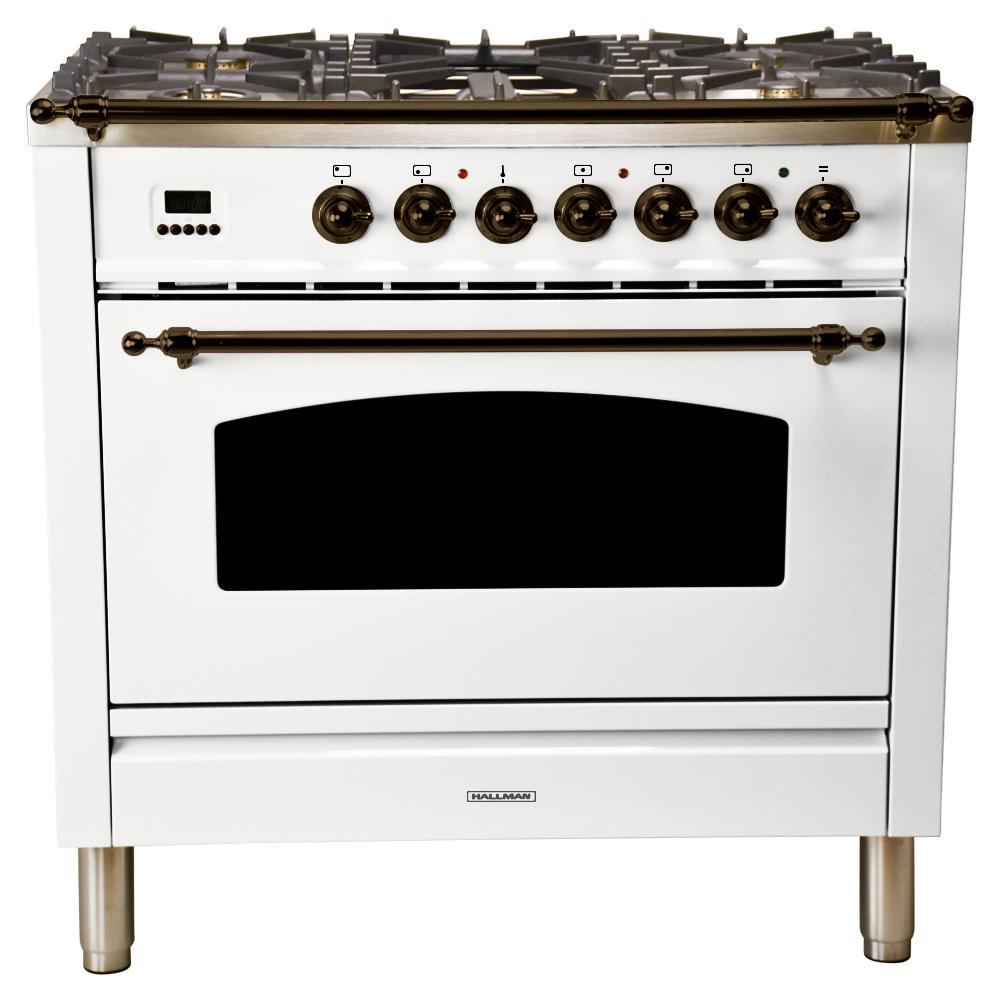 36 in. 3.55 cu. ft. Single Oven Dual Fuel Italian Range True Convection, 5 Burners, LP Gas, Bronze Trim in White
