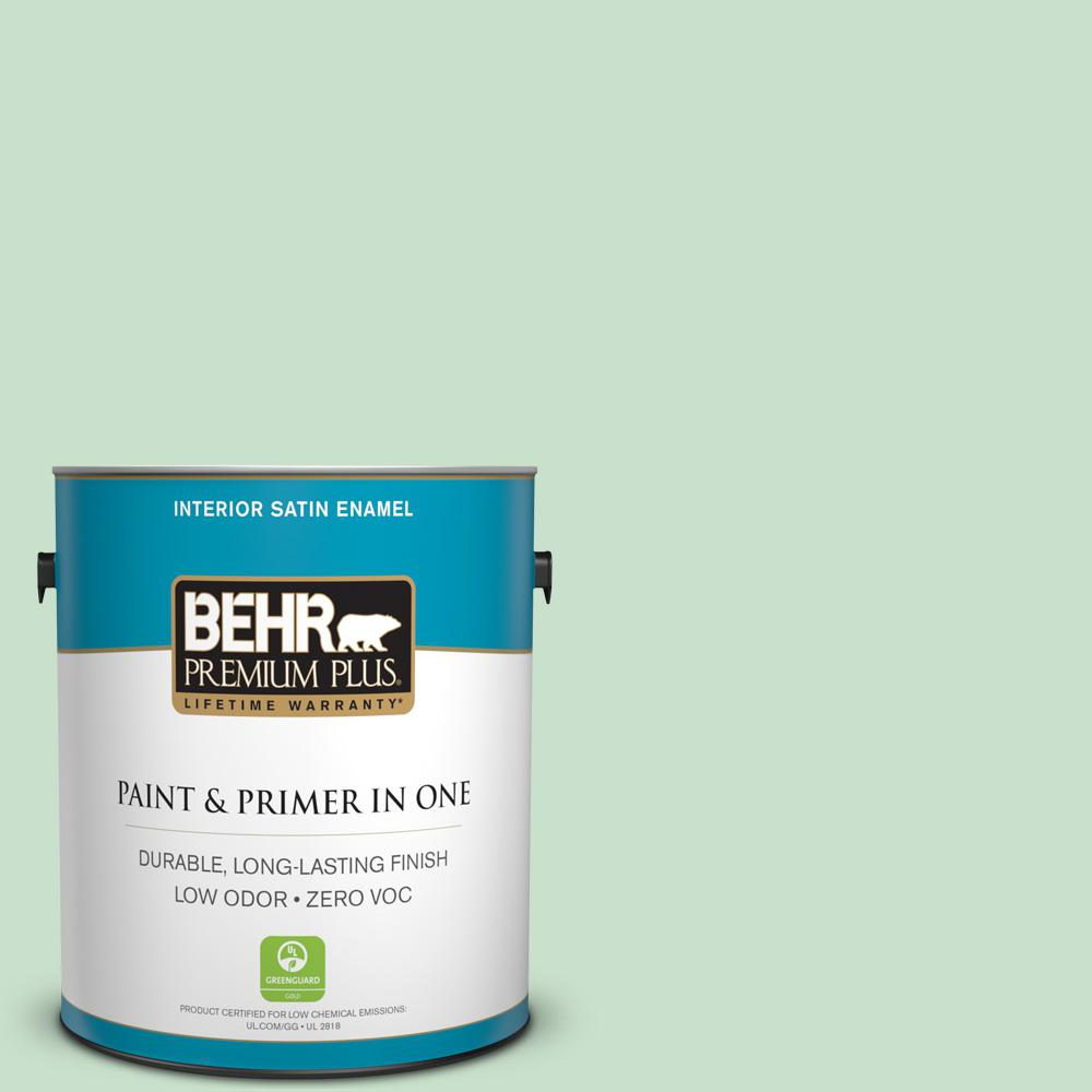 BEHR Premium Plus 1-gal. #M410-2 Wishful Green Satin Enamel Interior Paint